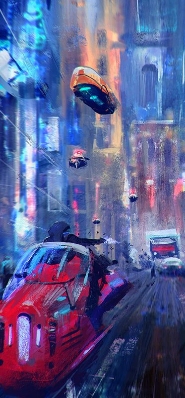 1080x2316-cyberpunk-futuristic-city-vehicle