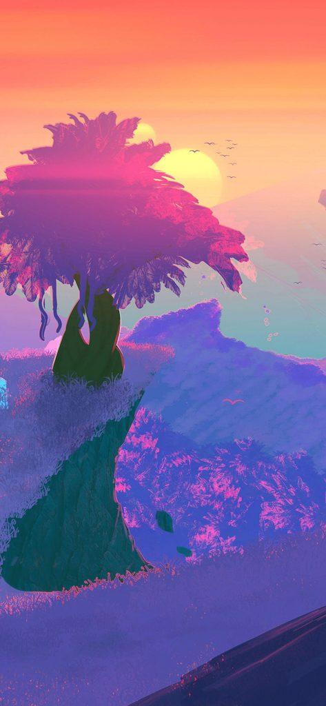 Nature Sunset Art HD Wallpaper [1080x2340]
