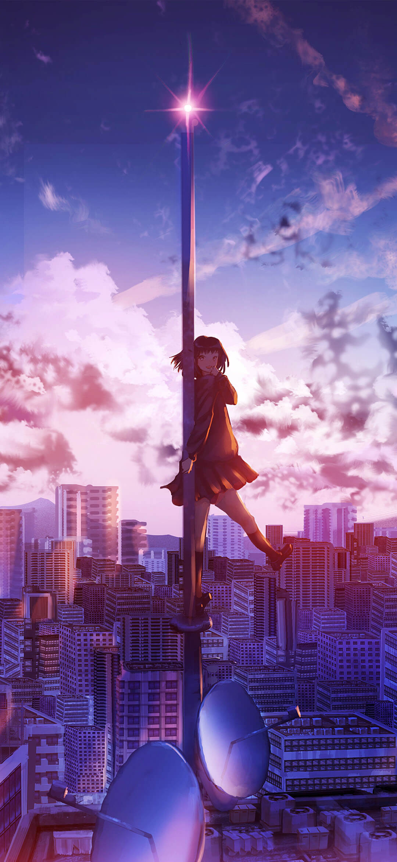 Original City Anime Girl In Sky Wallpaper 1080x2340 Webrfree