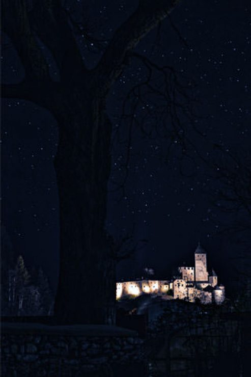 Castle Lighting In Dark Night Wallpaper - [320×480]