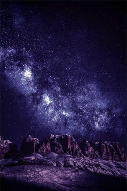 Rocky Mountain Under Galaxy Wallpaper - [320×480]