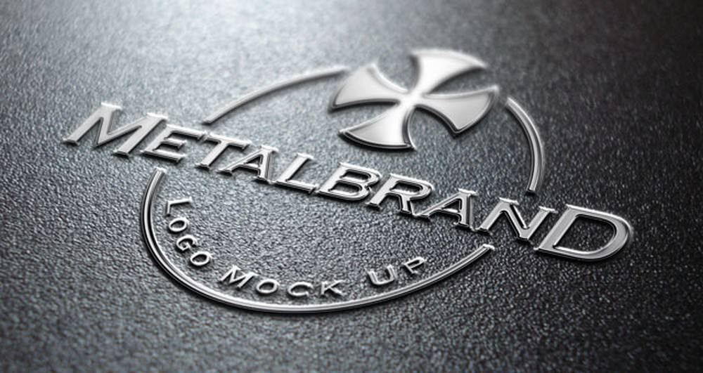 Realistic Metalbrand Logo Mockup
