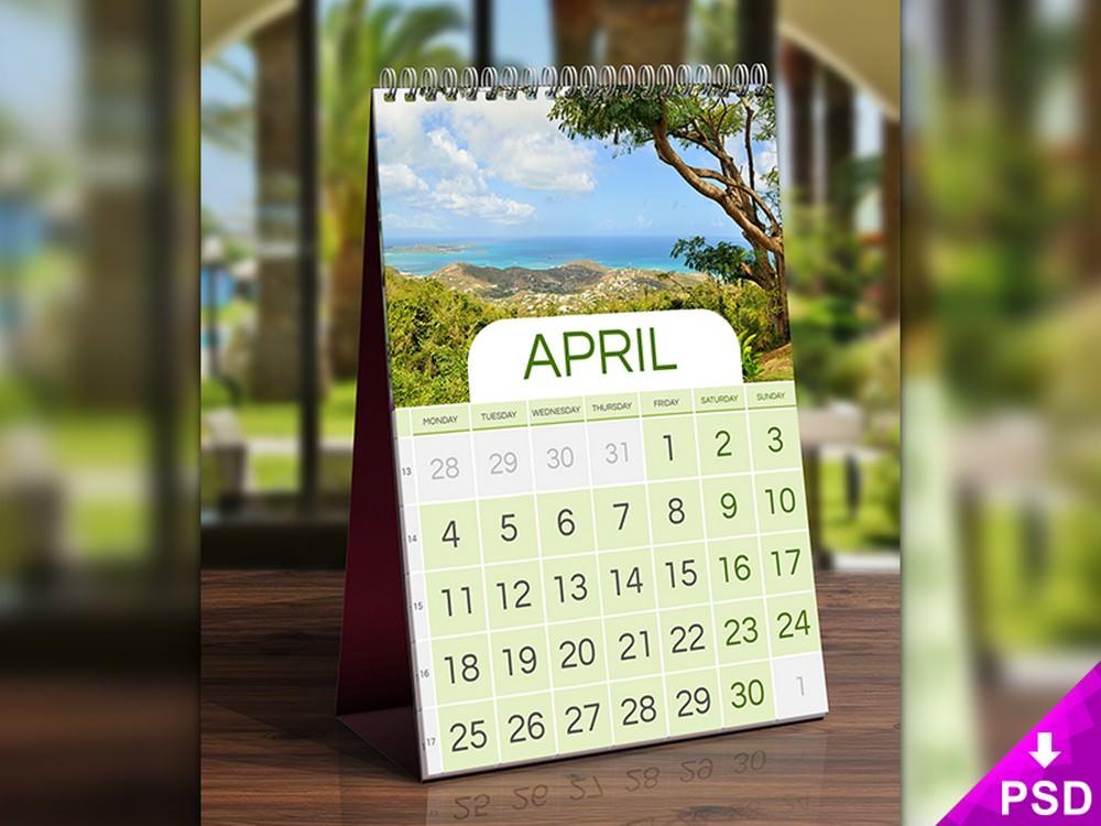 Beautiful Table Calendar PSD Mockup