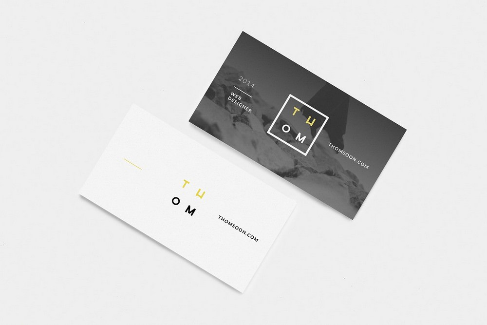 Set of Excellent Business Cards Mockup (PSD) 1920x1280 px