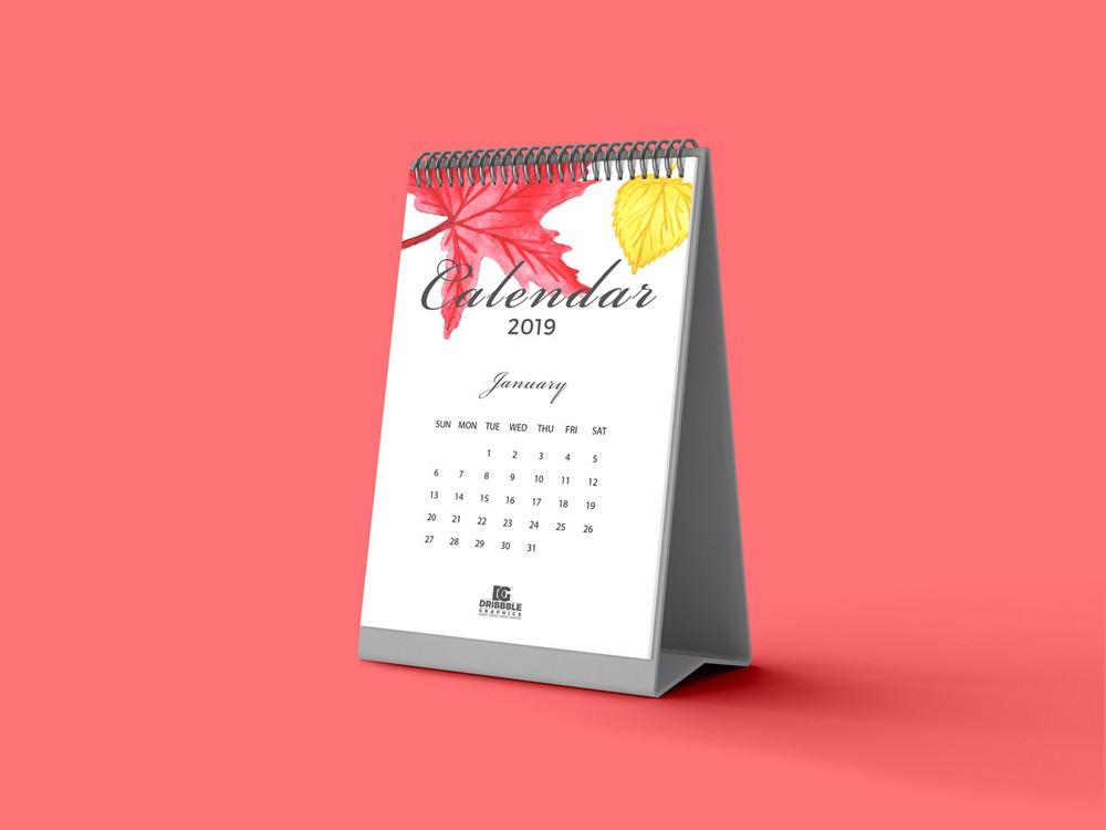 clean calendar PSD mockup 4000×3000 PX