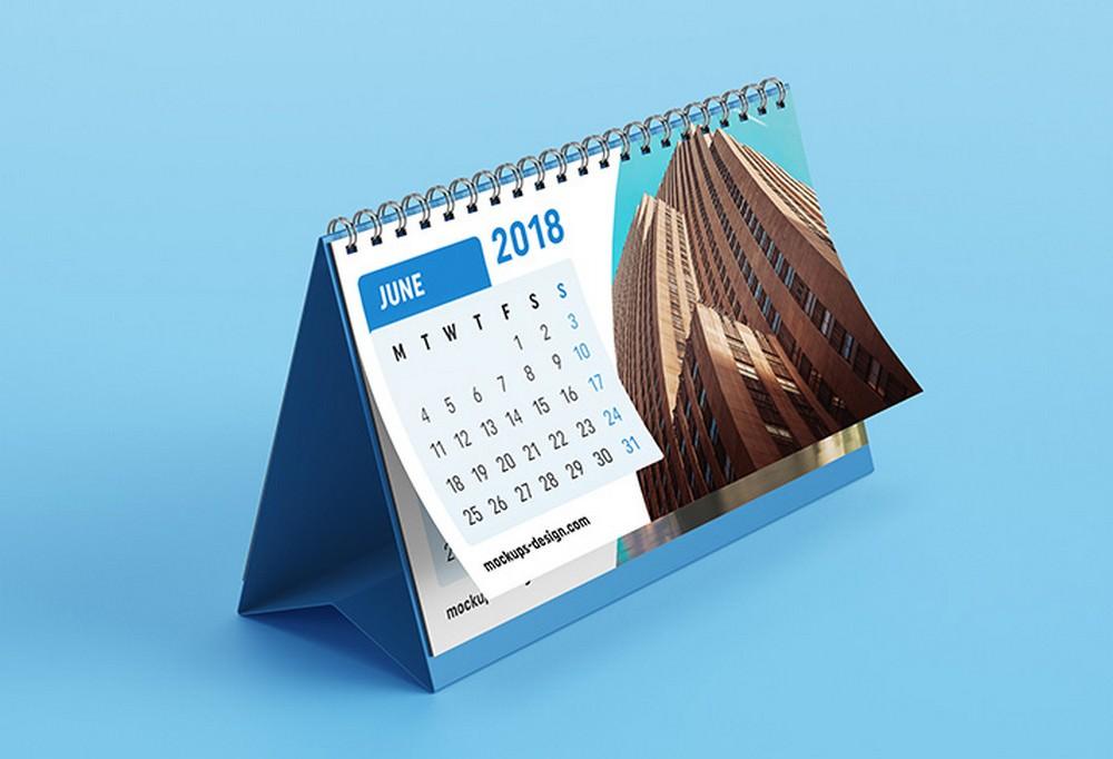 June clean desk calendar mockup