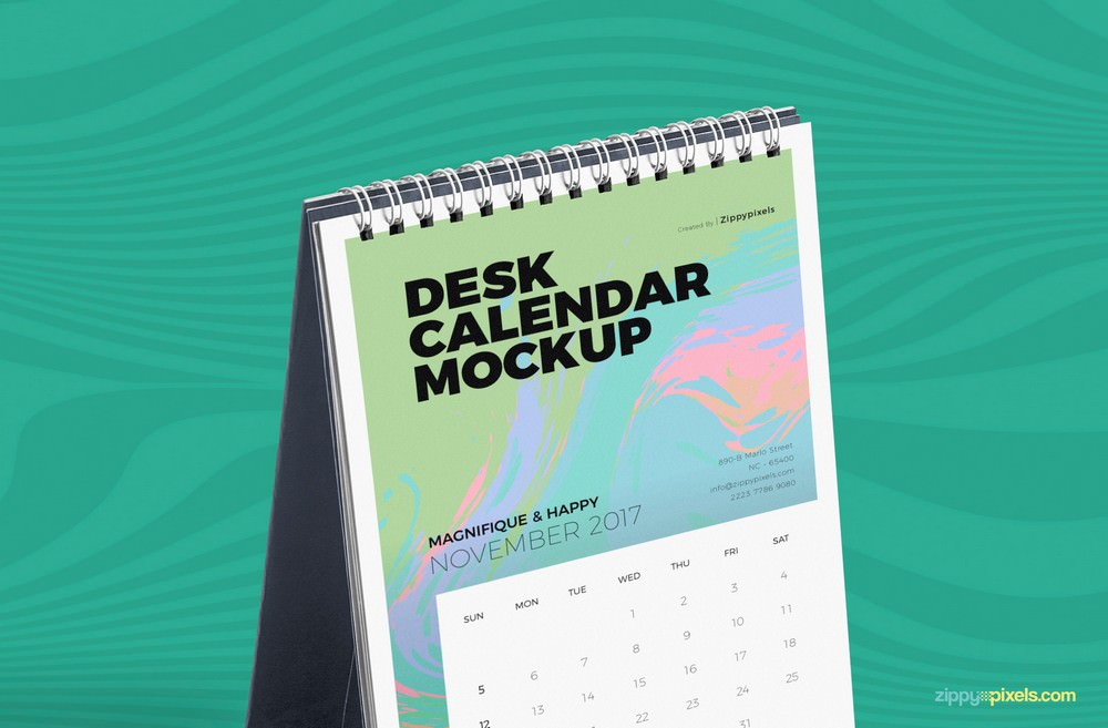 Fully Editable Desk Calendar PSD Mockup