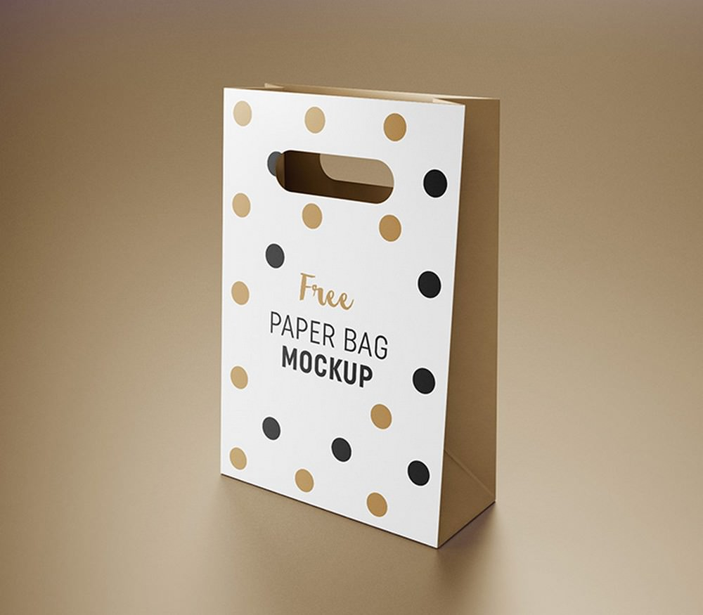 Paper Gift Bag PSD Packaging Mockup 3 Views