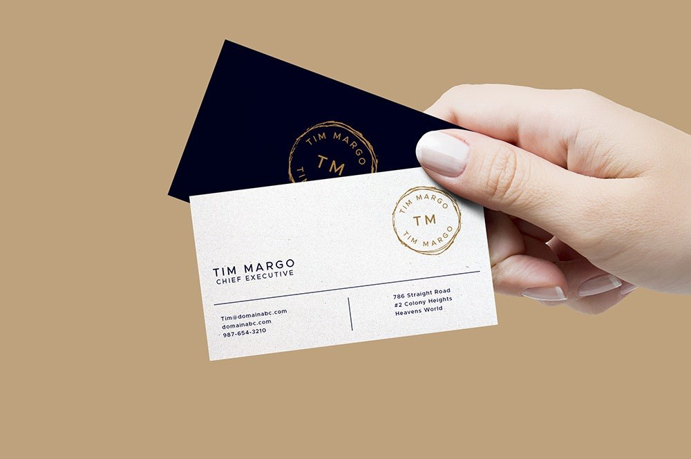 Executive In Hand Business Cards PSD Mockup
