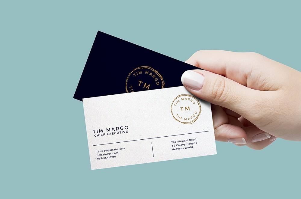 Executive In Hand Business Cards PSD Mockup 2500x2000