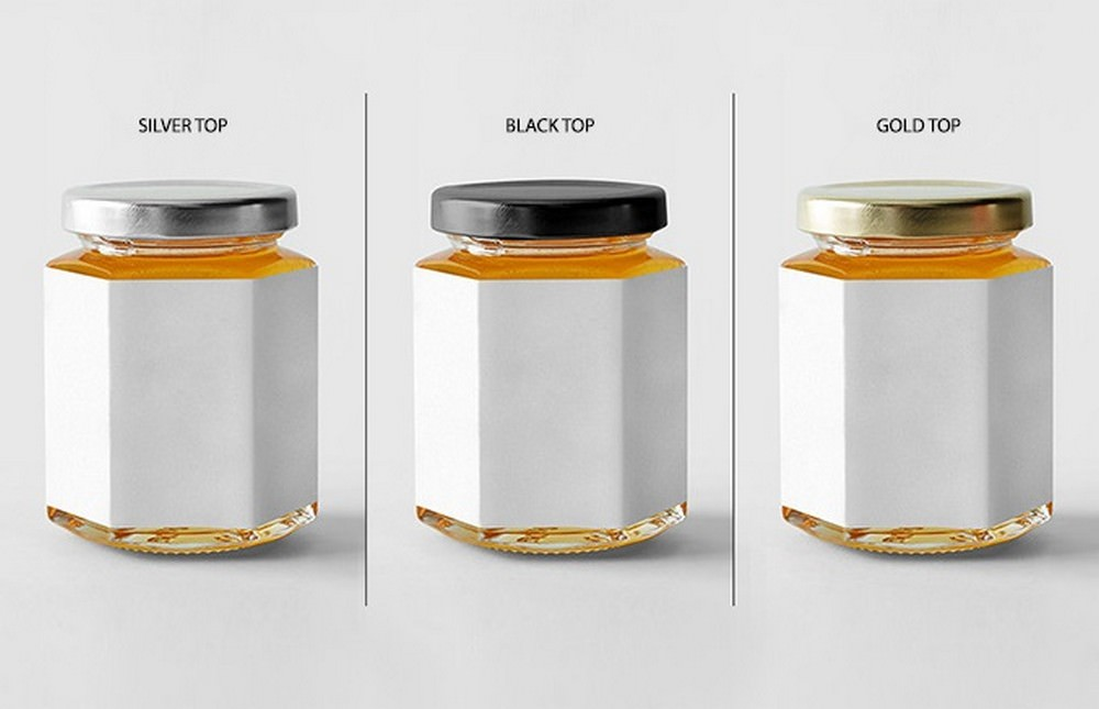 Silver, Black, Gold Honey Jar Mockup PSD