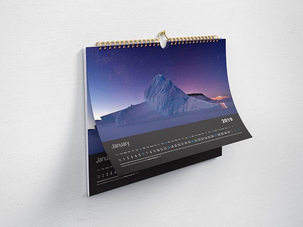 Awesome Hanging Calendar on Wall Mockup Horizontal