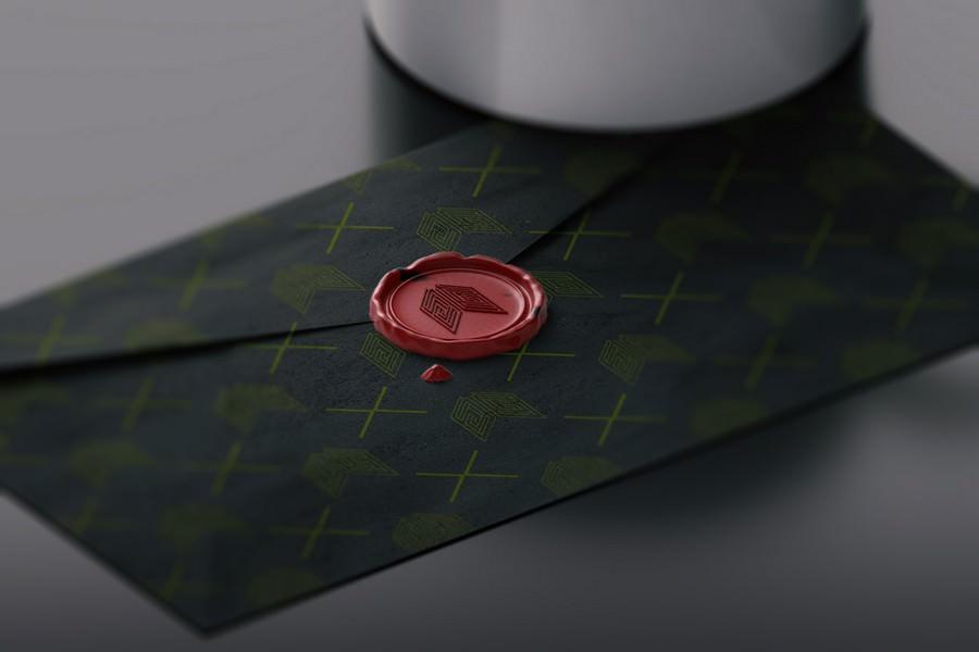 Red Wax Stamp on Envelope PSD Mockup