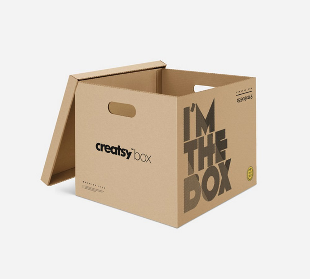 Useful Big Cardboard Box PSD Mockup 2000×1803 px