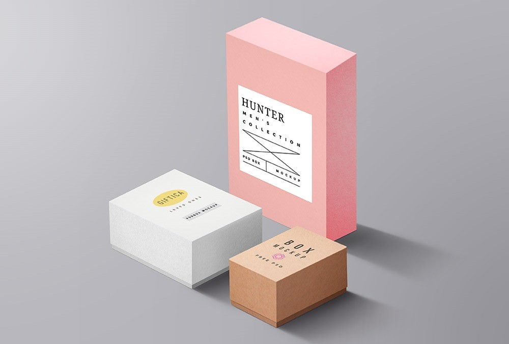 sets of packaging boxes PSD mockup 5000x4000 pixels