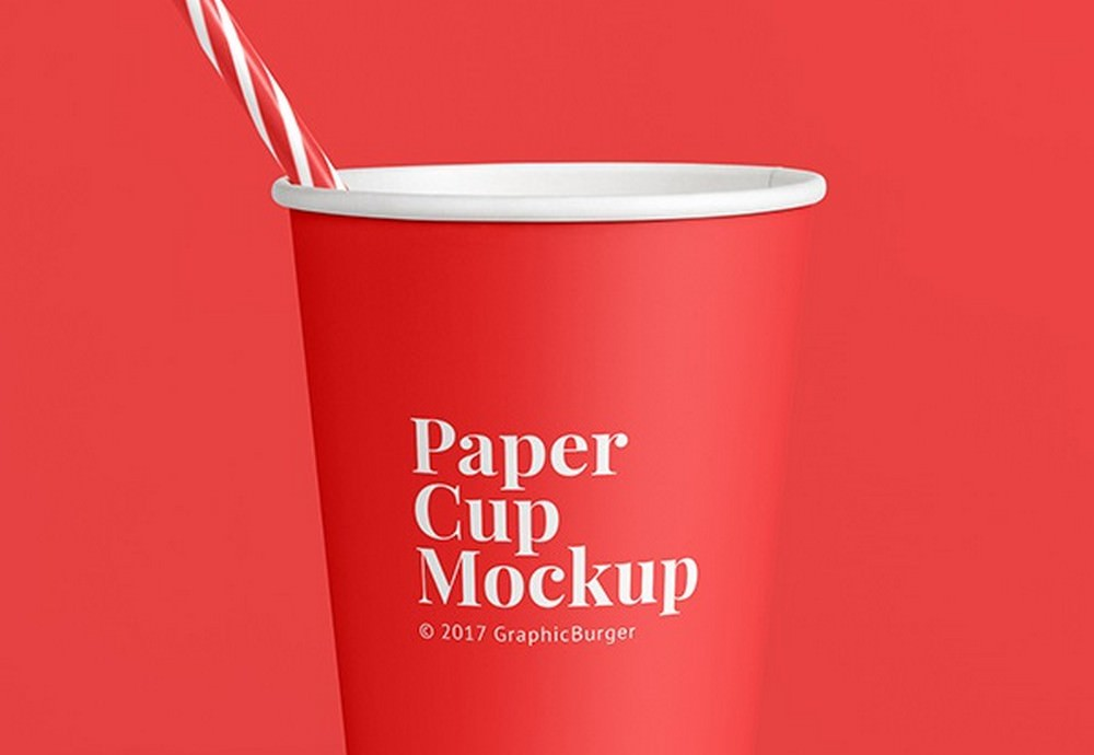 Eco-Friendly Red Paper Cup Mockup (PSD)