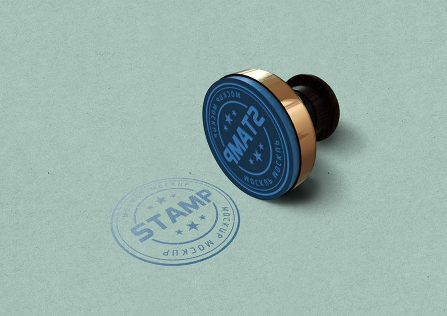 Blue Round Stamp Mockup PSD Template