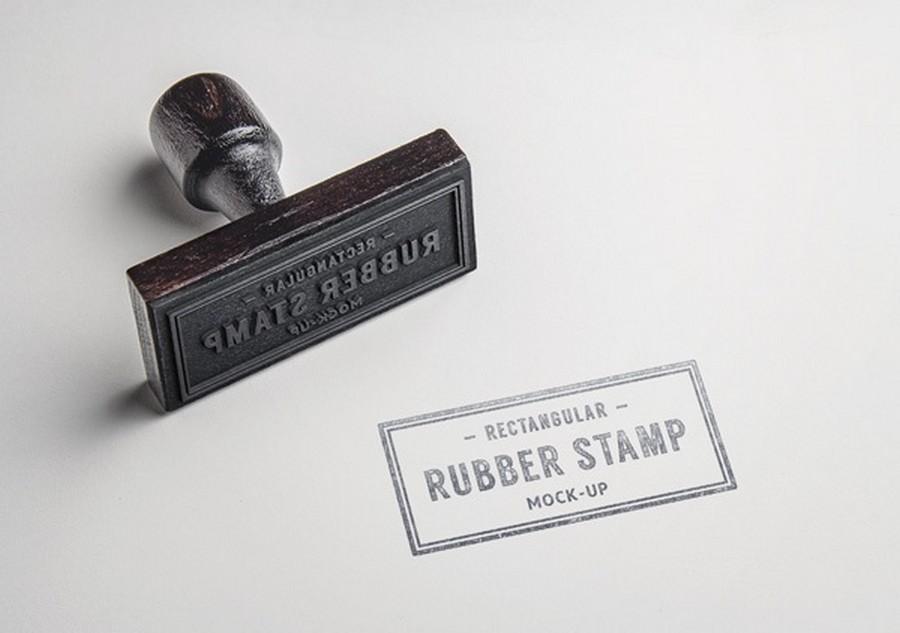 Rectangular Rubber Stamp Mock-Up Layered PSD