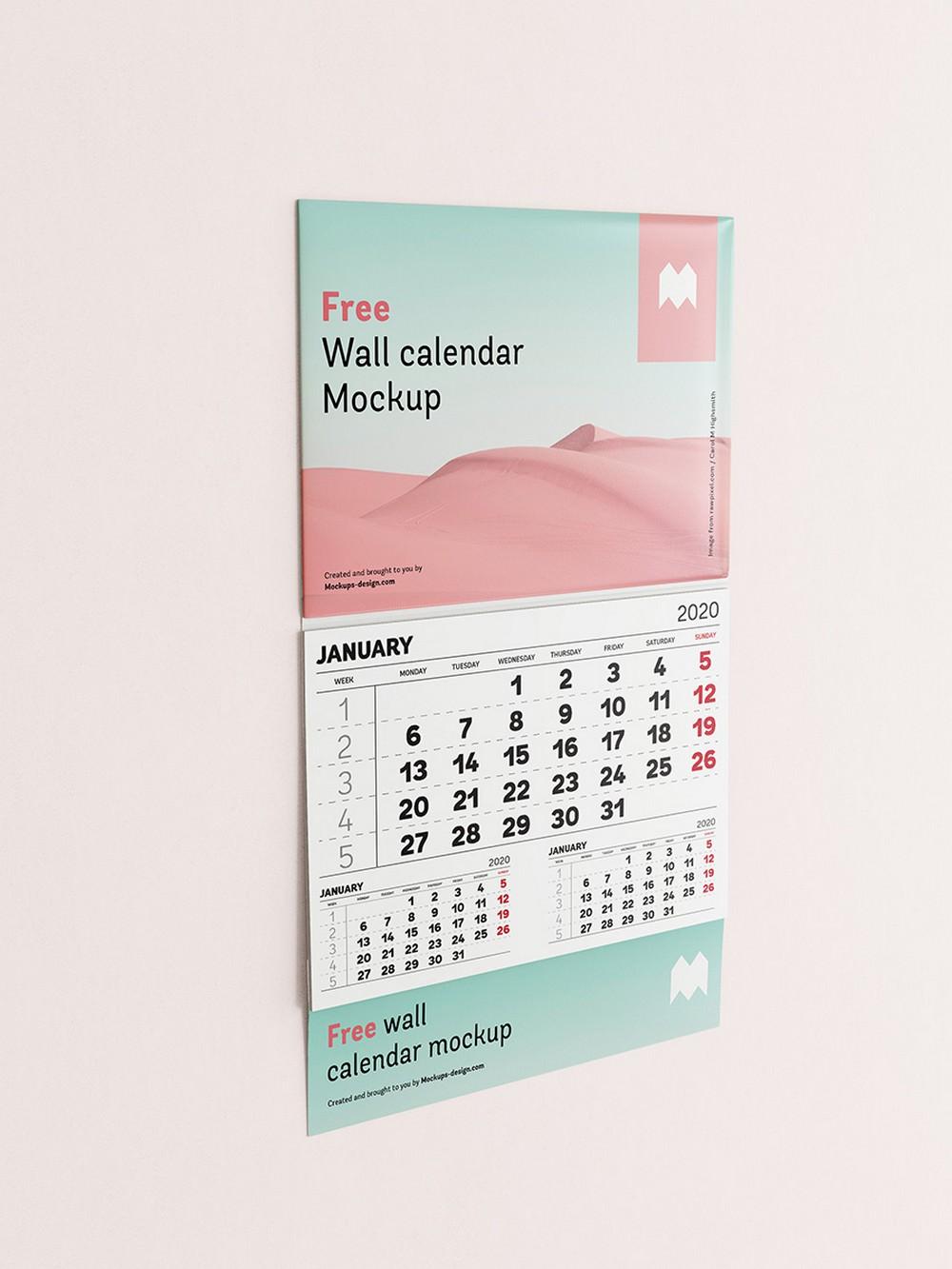 stunning January calendar mockup Side View