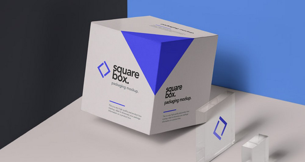 modern psd square box packaging Mockup