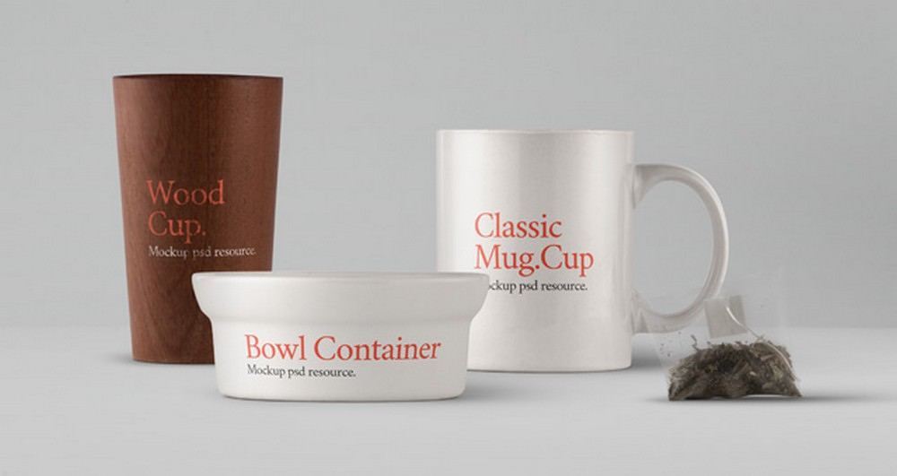PSD Teacup, Bowl or Wooden Cup Mockup