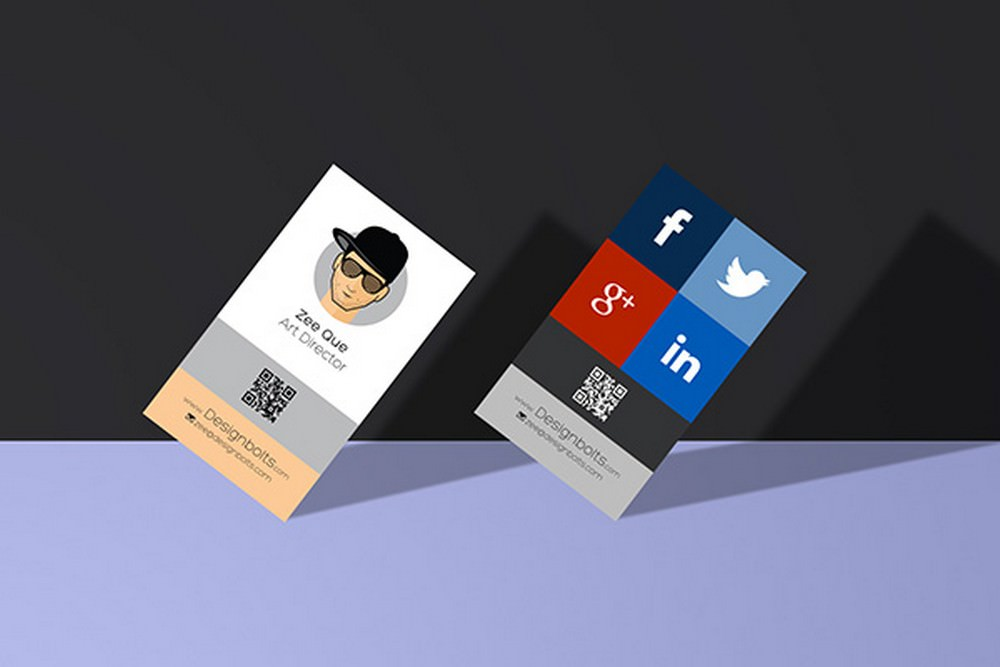 Standing Business Card Mockup with smart object