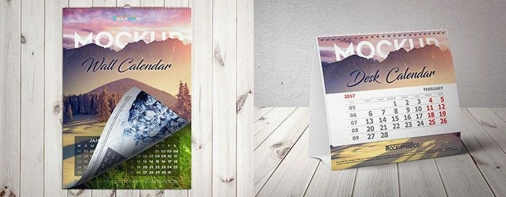 Desk And Wall Calendar Mockups Bundle