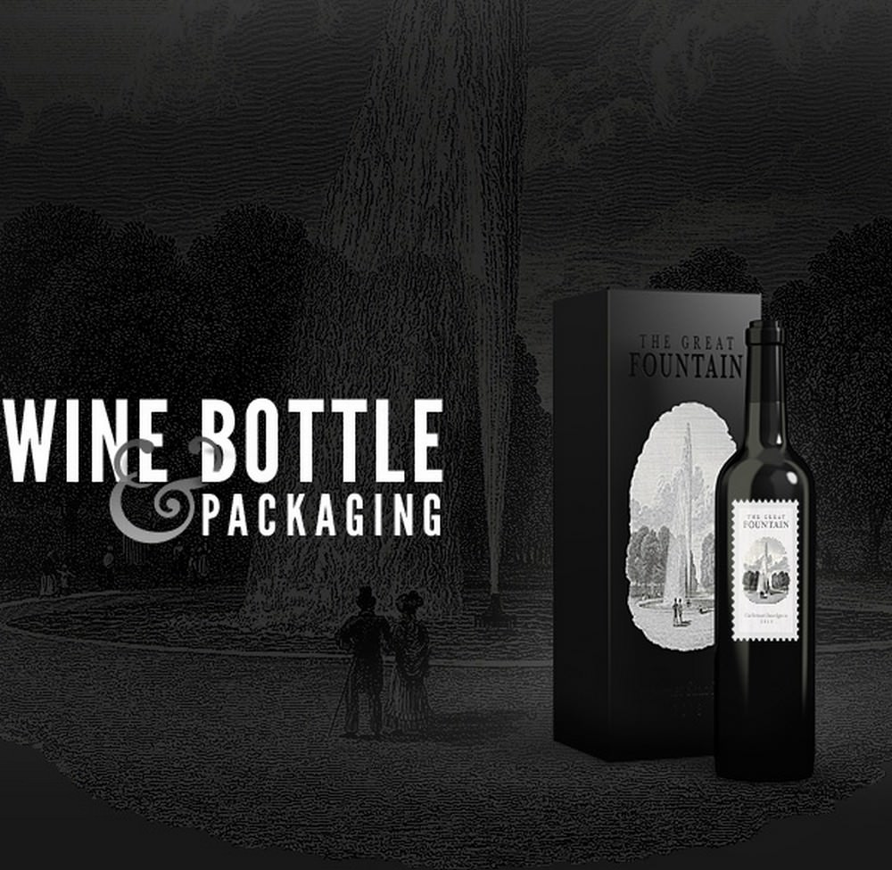 Elegant Wine Bottle PSD Template