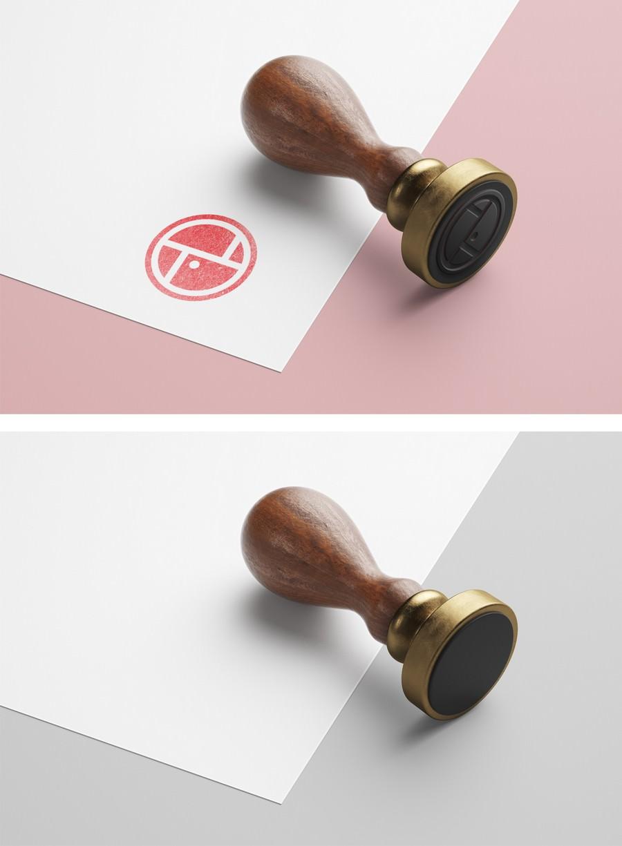 Wood Stamp on Paper PSD mockup