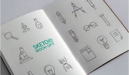 27+ New Hand Drawn Sketch Book Mockups PSD