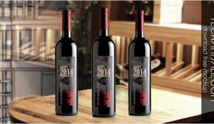 35+ High Quality Wine Bottle Mockups PSD Templates